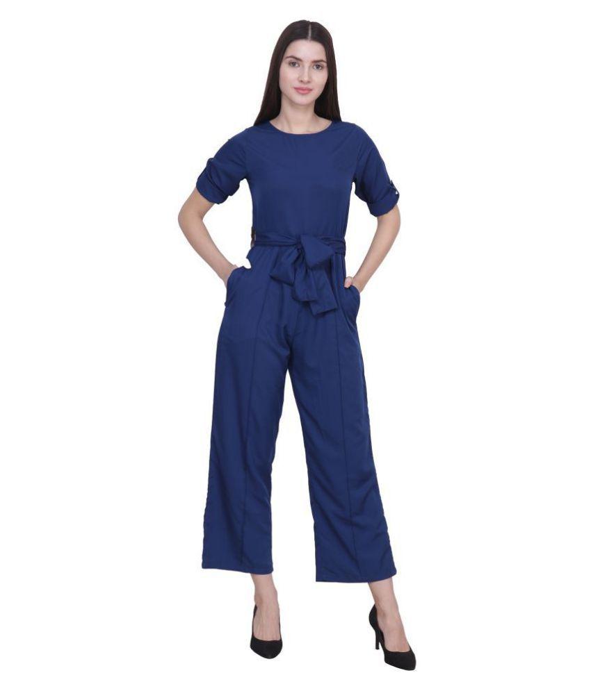FREMPY Blue Crepe Jumpsuit