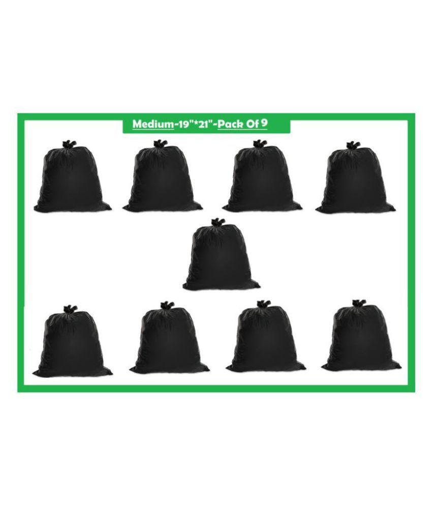 GARBAGE BAGS T1 Garbage Bag Dustbin Bag Black Size 19*21 Compostable/Biodegradable Garbage/Trash/Dustbin Bag For Home/Office/Industries & Many MultI Purposes (270 Pieces)