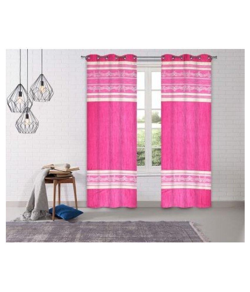 LINENS & DRAPES Set of 2 Window Blackout Room Darkening Eyelet Polyester Curtains Pink