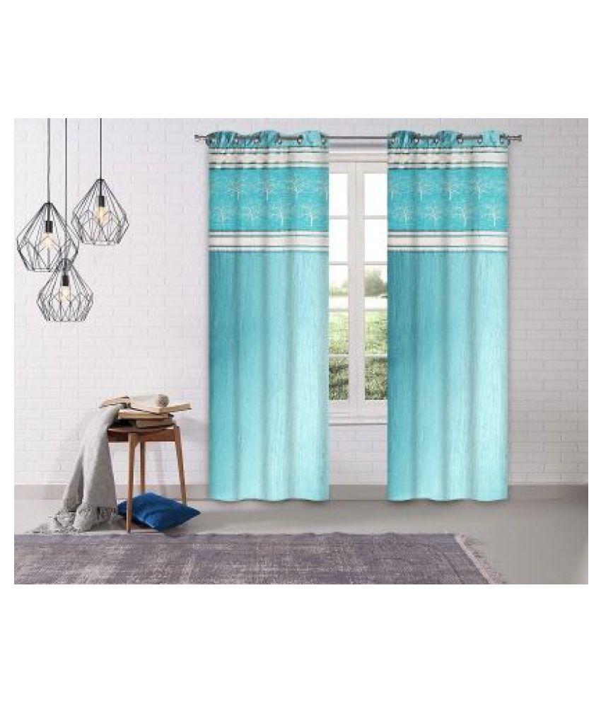 LINENS & DRAPES Set of 2 Window Blackout Room Darkening Eyelet Polyester Curtains Aqua