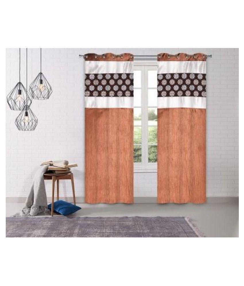 LINENS & DRAPES Set of 2 Door Blackout Room Darkening Eyelet Polyester Curtains Coffee