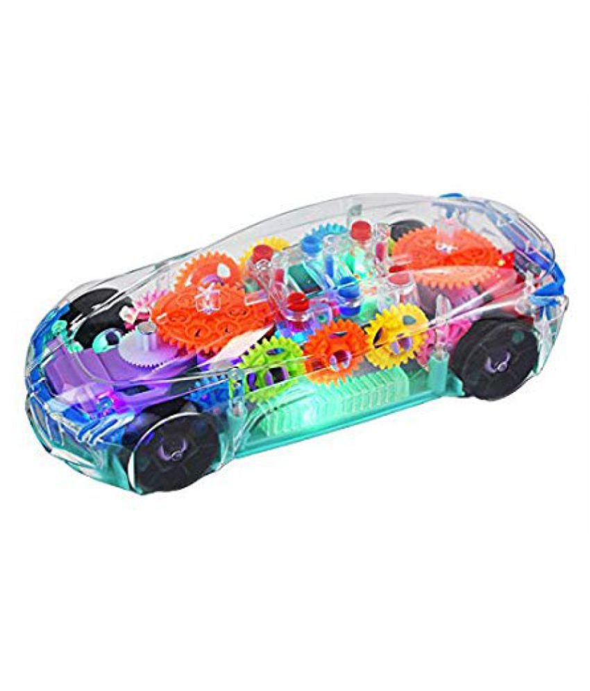 Transparent Concept car 3D Super Car Toy, Car Toy for Kids with 360 Degree Rotation, Gear Simulation Mechanical Car, Sound & Light Toys for Kids Boys & Girls