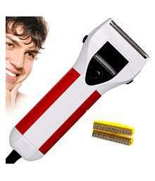 Jm Hair Shaver Rechargeable Double Bladed with Trimmer Clipper for Men Foil Shaver ( White )
