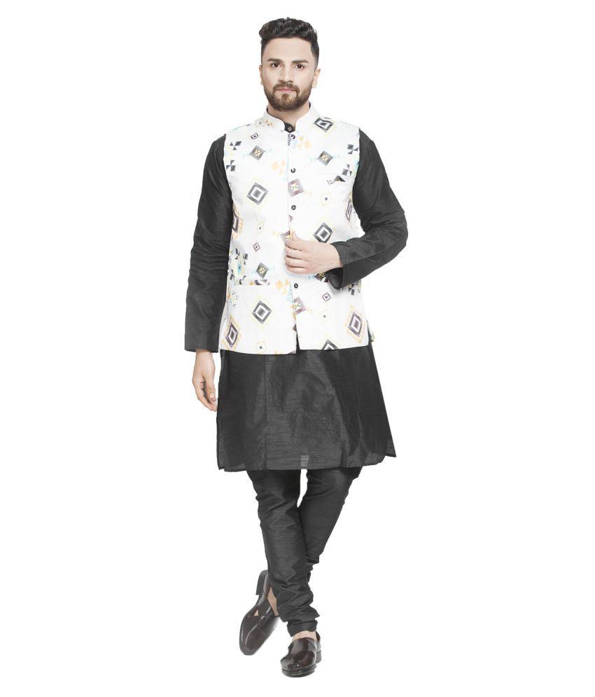 BENSTOKE Black Silk Blend Kurta Pyjama Set Pack of 1
