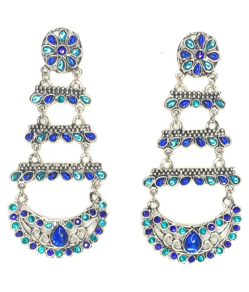 Sartorial Glam Oxidised Blue Dual Tone Chandelier Earrings