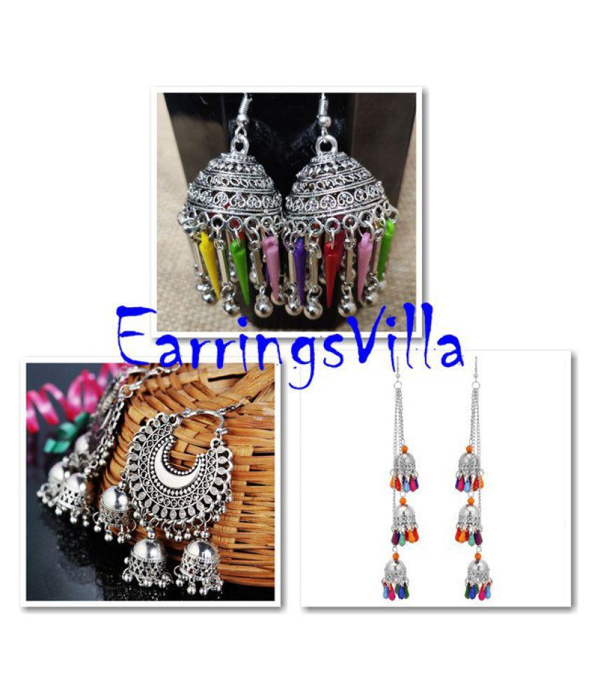 Fashion Jewellery New Arrival Silver Fashion Earrings, Trendy Jhumki Traditional Fashion Earrings Fashion EarringsVilla Combo Combo of 3 Earrings
