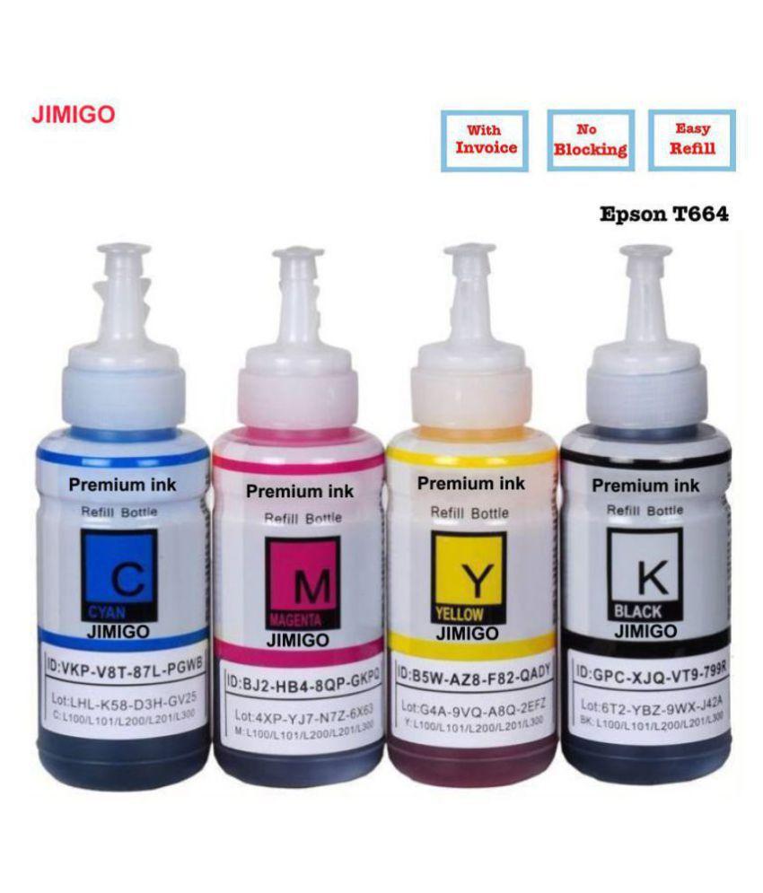 JIMIGO FOR EPSON L360 L380 Multicolor Pack of 4 Ink bottle for Compatible with Epson EcoTank  L130,L210,L220,L350,L360,L361,L365,L380,L385,L455,L485,L550,L555,L565