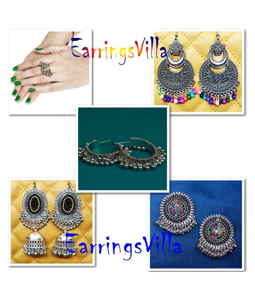 Oxidised stone earrings with Jhumka Earrings Combo New Arrival Silver EarringsVilla Fashion Jewellery Combo of 4 Earrings