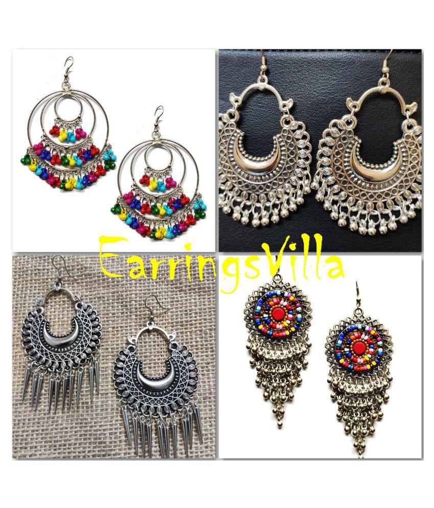 Silver Earrings For Girls Fancy Party Wear EarringsVilla Combo Combo of 4 Earrings