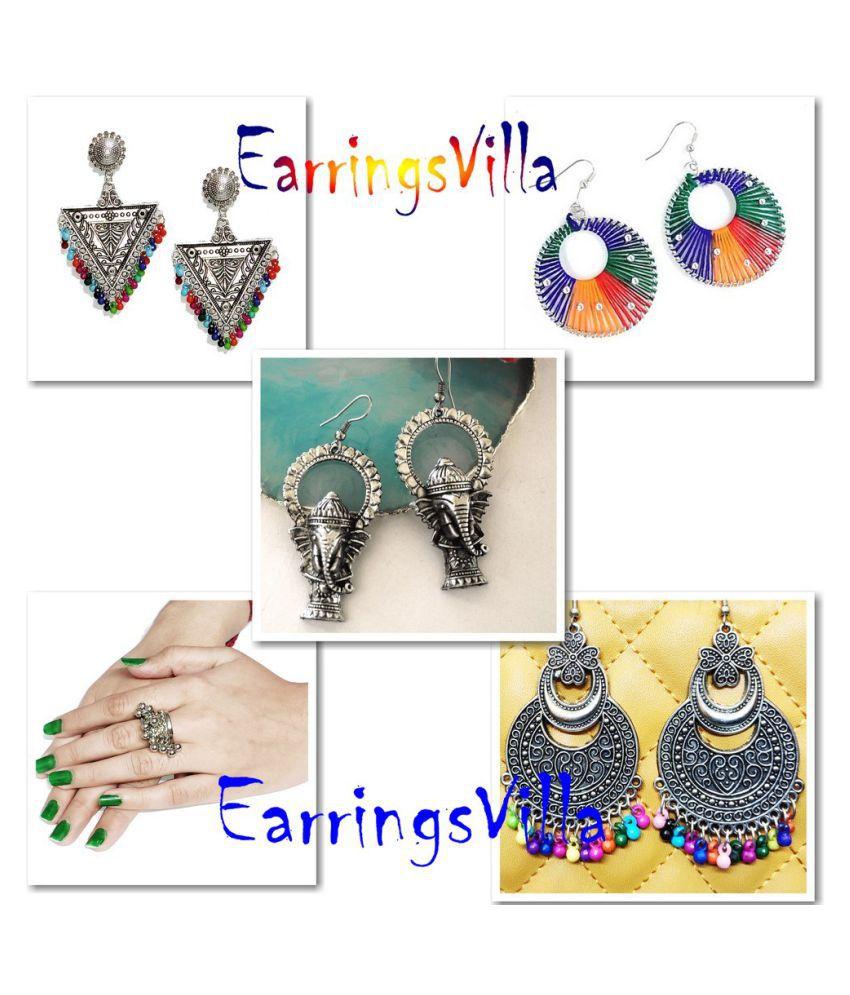 Silver Fashion Earrings For Girls Fancy Party Wear Fashion EarringsVilla Combo Combo of 4 Earrings