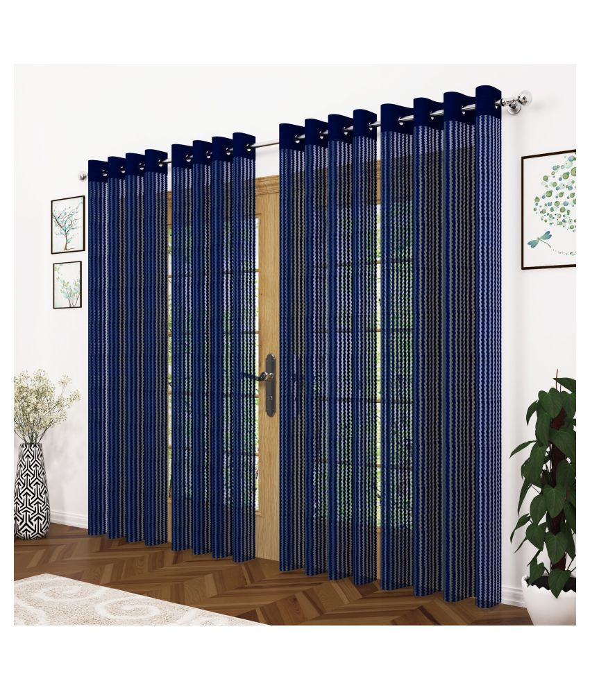 Story@Home Set of 4 Long Door Semi-Transparent Eyelet Polyester Curtains Blue