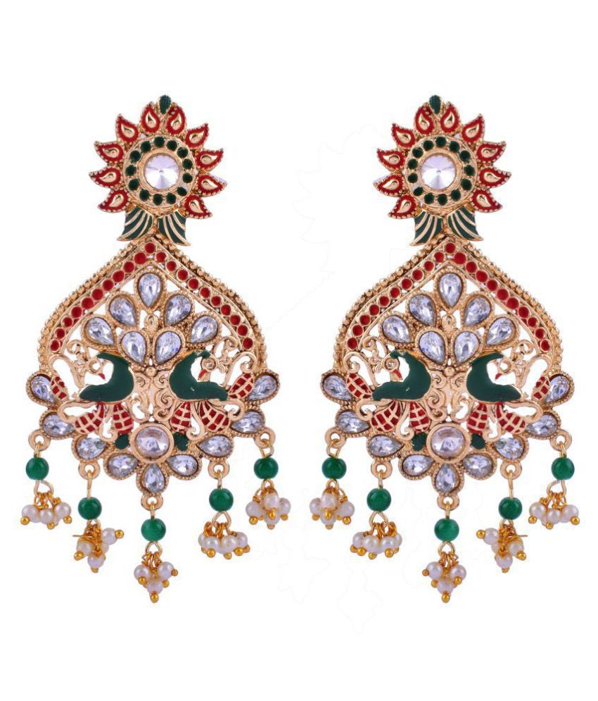 The Jewelry Creations Emerald (Created), Pearl & Cubic Zircon Traditional Inspired Gold Plated Earring TJC-275