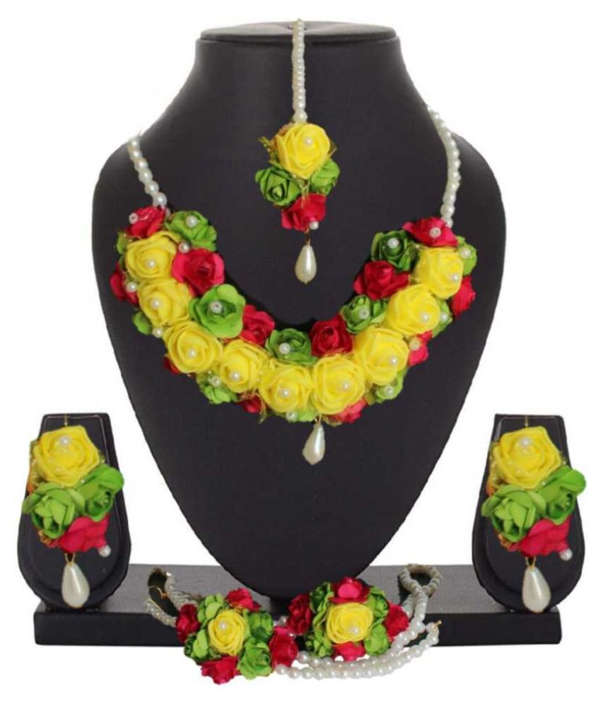 LAMANSH Haldi Jewellery Set For Haldi,Mehendi Flower Jewelry Set For Women Floral Jewellery Set For Wedding & Engagement