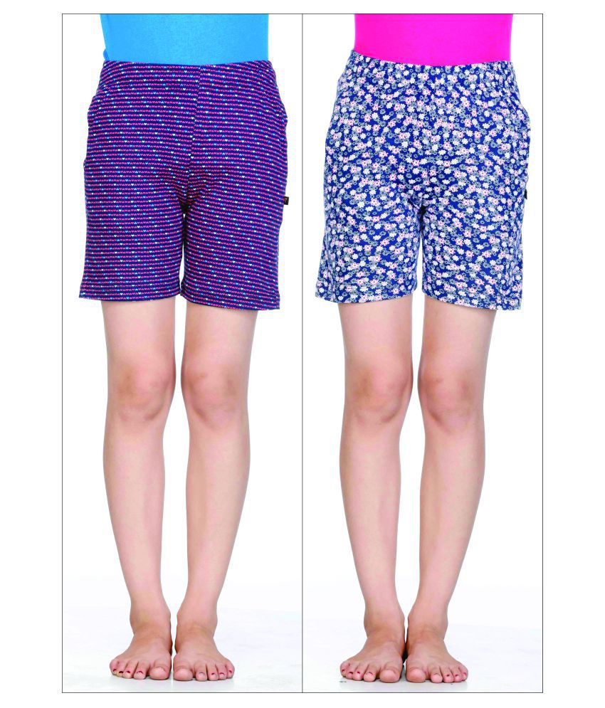 Proteens Girl's Shorts Printed  Combo Pack of 2