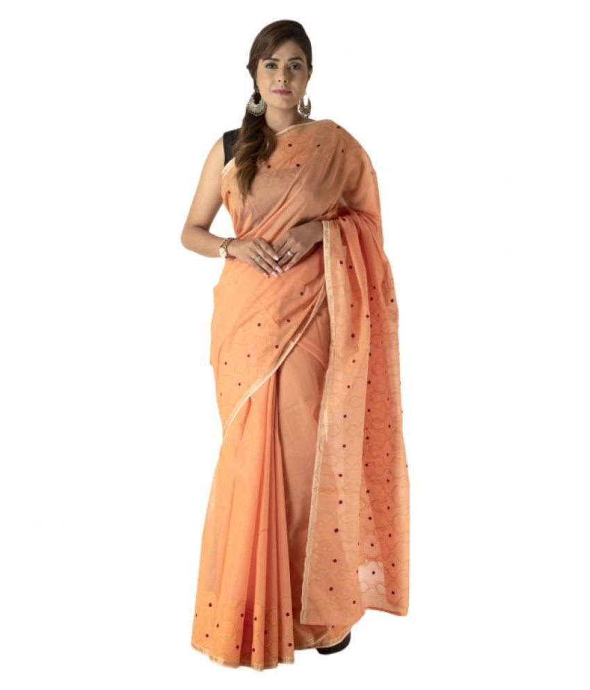 Tribes India Orange Art Silk Saree