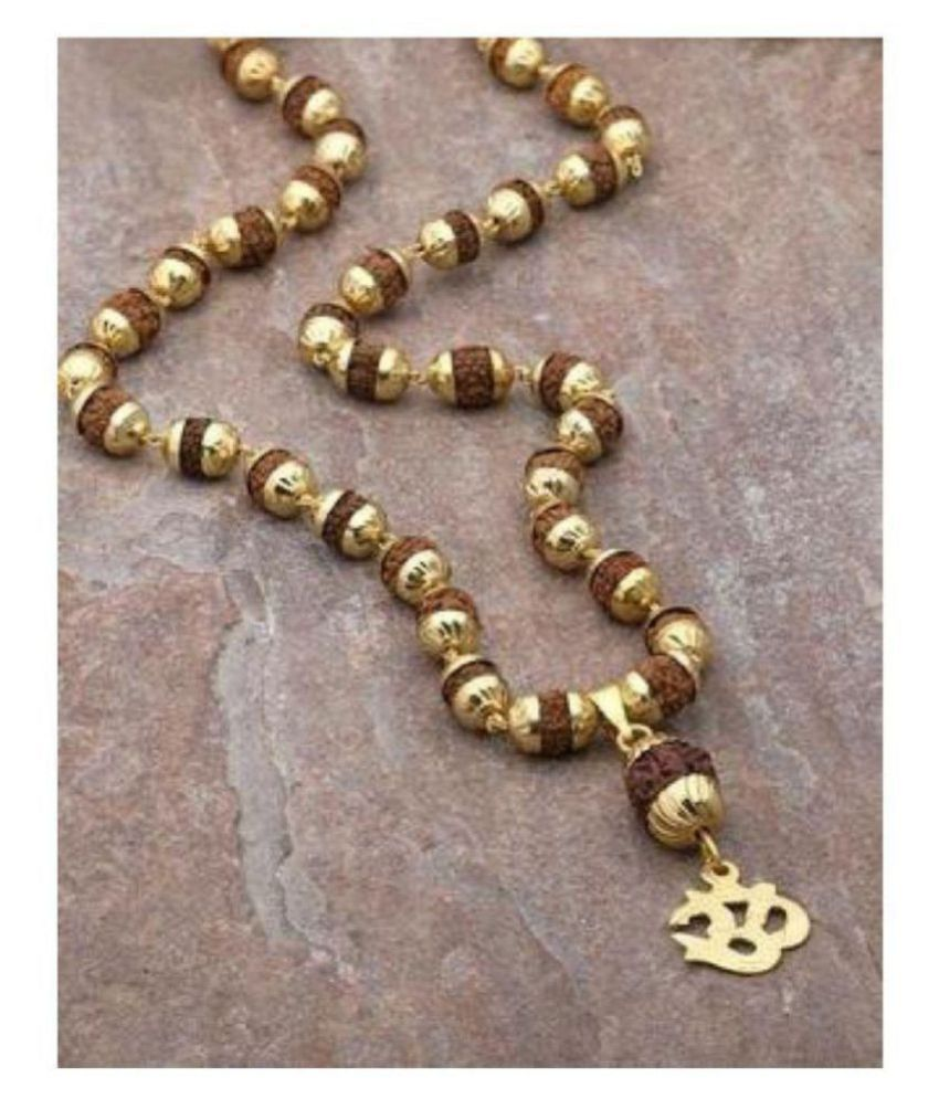 Minprice Original Om Rudraksha Pendant Mala With 1 Gram Gold Plated Cap