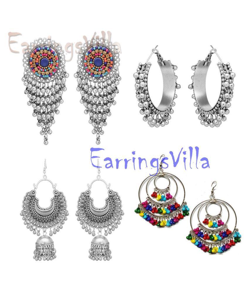Silver New Designer Kashmiri Dangle Oxidized Earrings for Women and Girls Combo of 4 Earrings