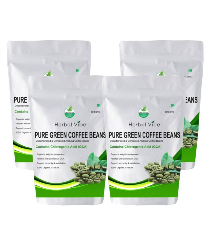Herbal Vibe Green Coffee Beans Unflavoured Green Coffee (Pack of 4) 400 gm Unflavoured Pack of 4