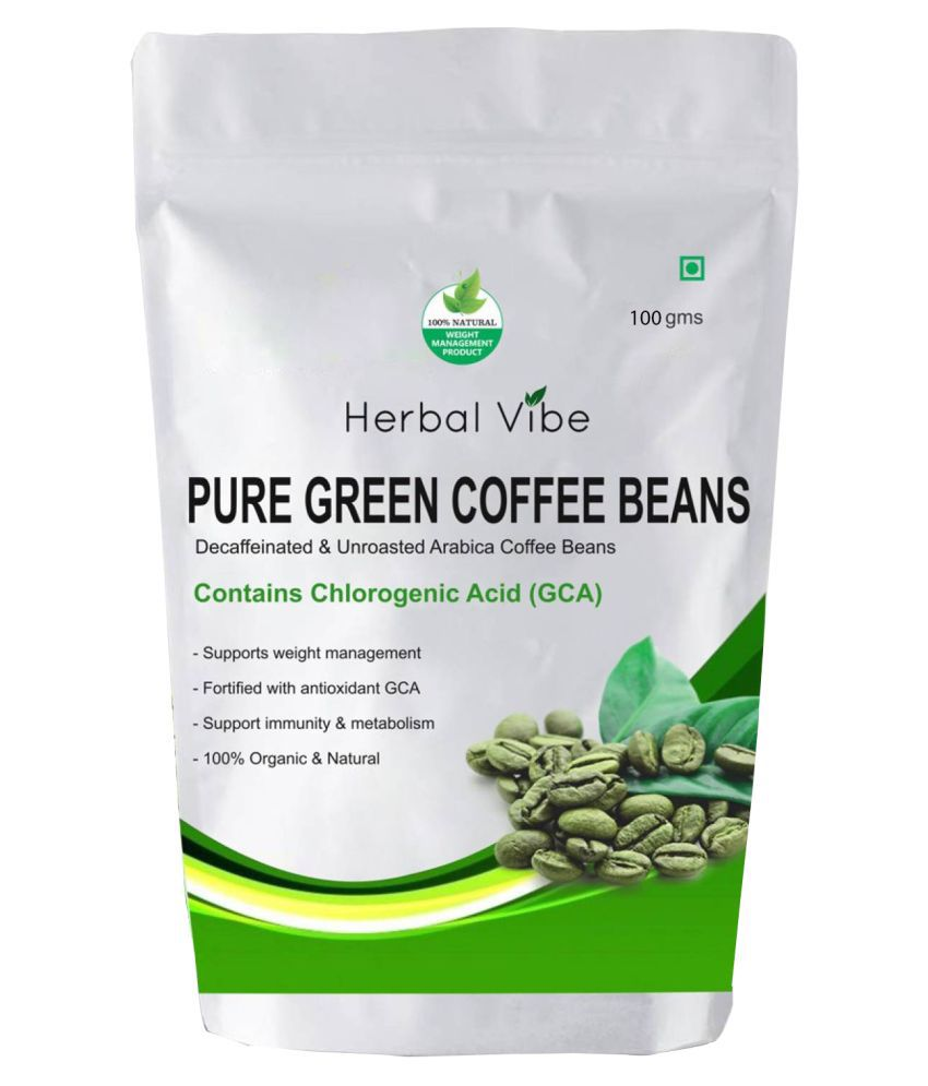 Herbal Vibe Green Coffee Bean for Weight Loss 100 gm Natural Single Pack