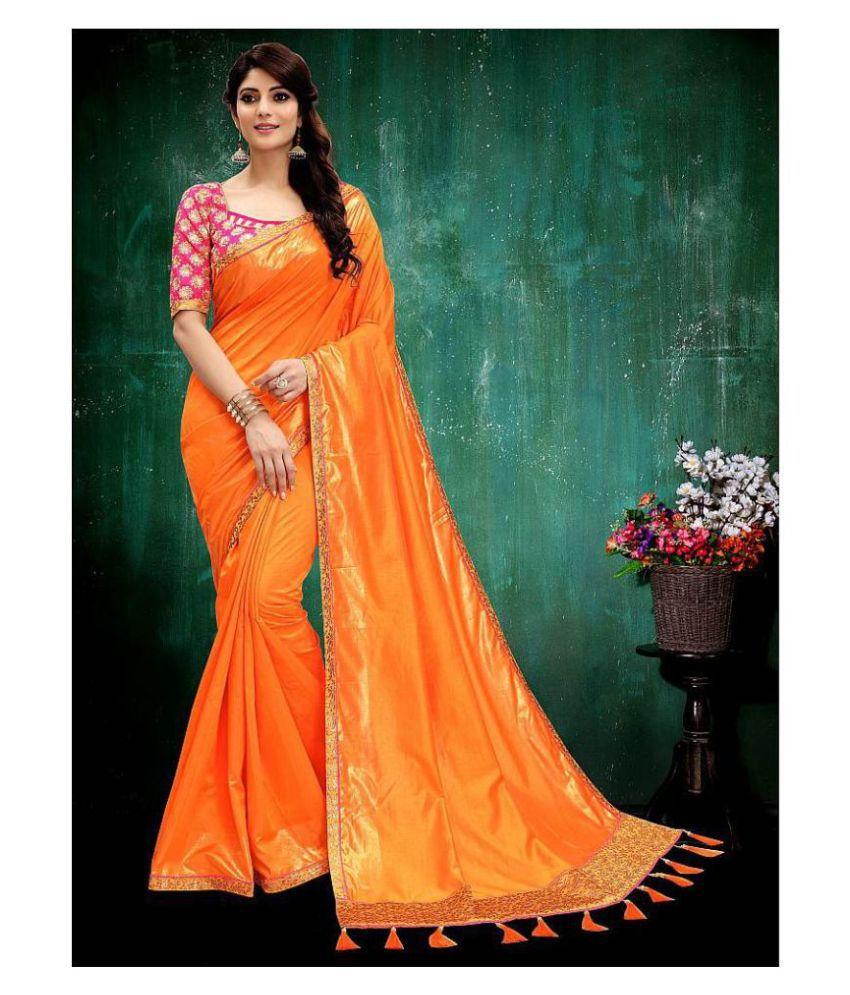 Onlinefayda Orange Silk Saree