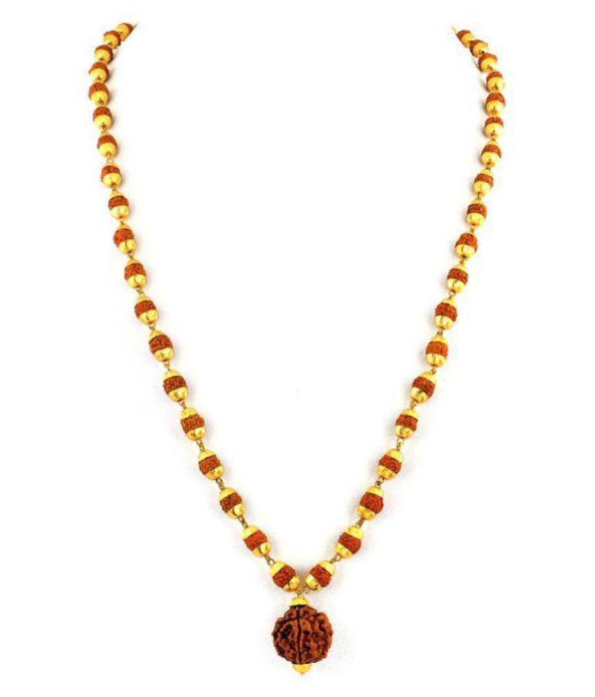 Original Certified 5 Mukhi Rudraksha Mala With Gold Plated Cap