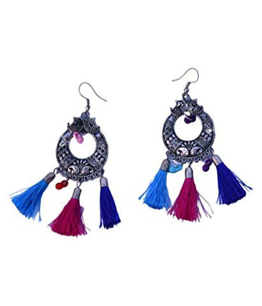 ALUX Women's Fancy Ethnic Lehenga Hanging Pearl Tassel Latkan