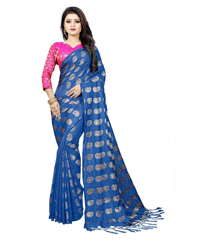Darshita International Blue Kanchipuram Saree
