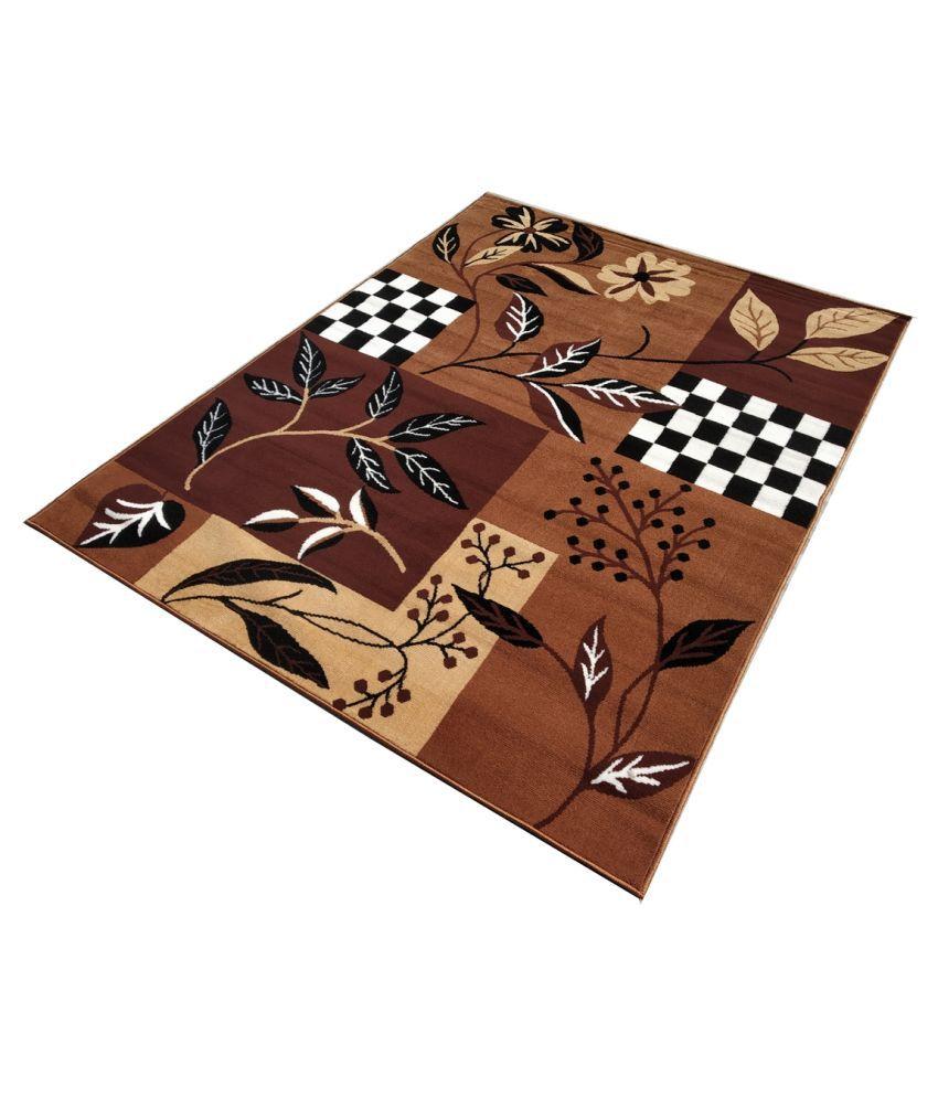 FIROZ AND BROTHERS Gold Polypropylene Carpet Floral 4x6 Ft