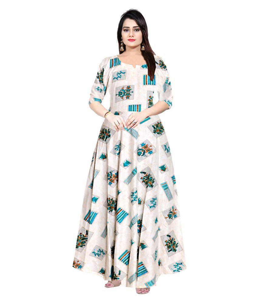 Trendy Fab Rayon Beige A- line Dress