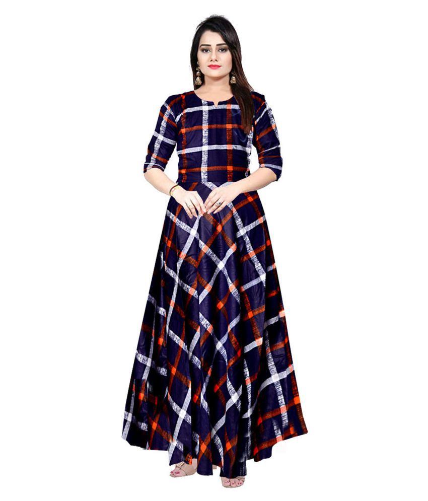 Trendy Fab Rayon Blue A- line Dress