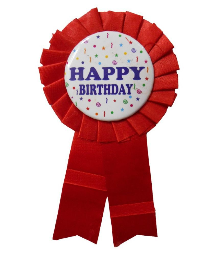 Happy Birthday Ribbon Badge for Birthday Party (Red, Pack of 1)