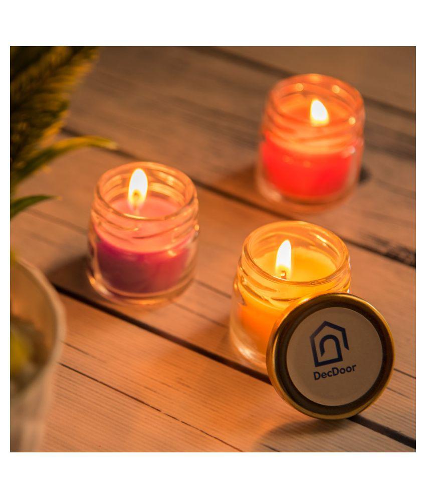 DecDoor Multicolour Jar Candle   Pack of 6