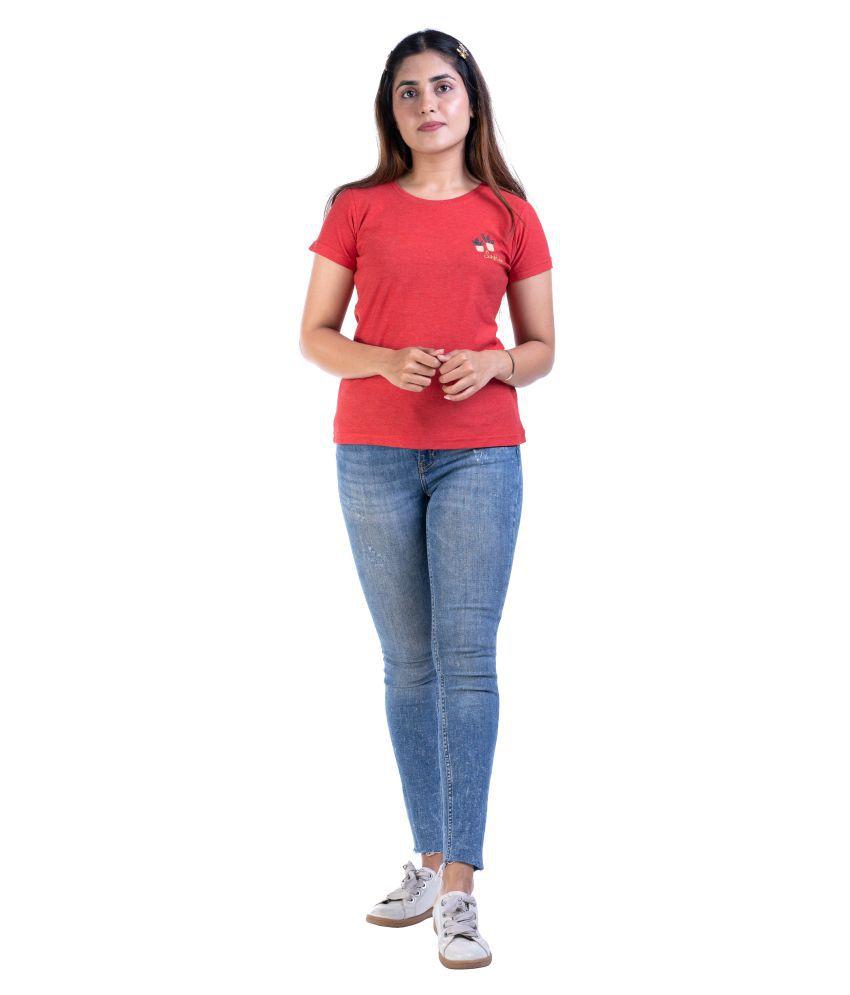 ANGELETE Cotton Red T-Shirts