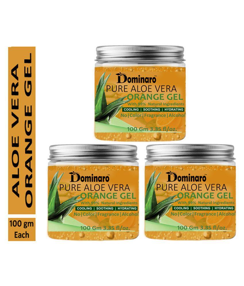 Dominaro Pure Aloe Vera Orange Face Gel & Glow Skin Moisturizer 300 gm Pack of 3