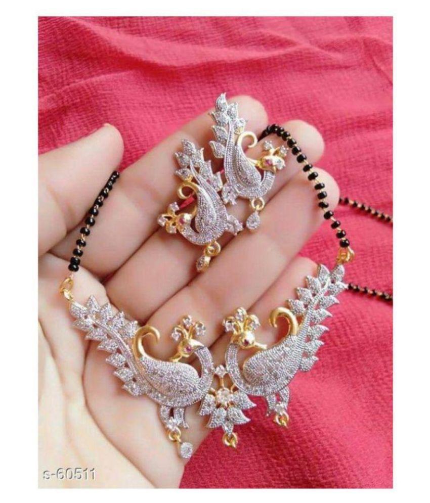 Navya Collection American Diamond Peacock Style Mangalsutra Set