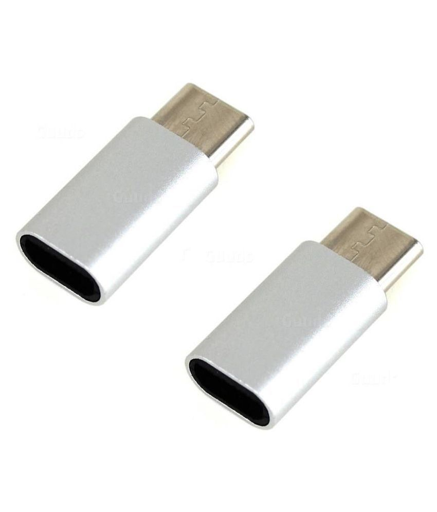 Type-C to Micro SANRIYO SilverUSB OTG adapter For Smartphones And Other Type-C OTG supported pack of 2