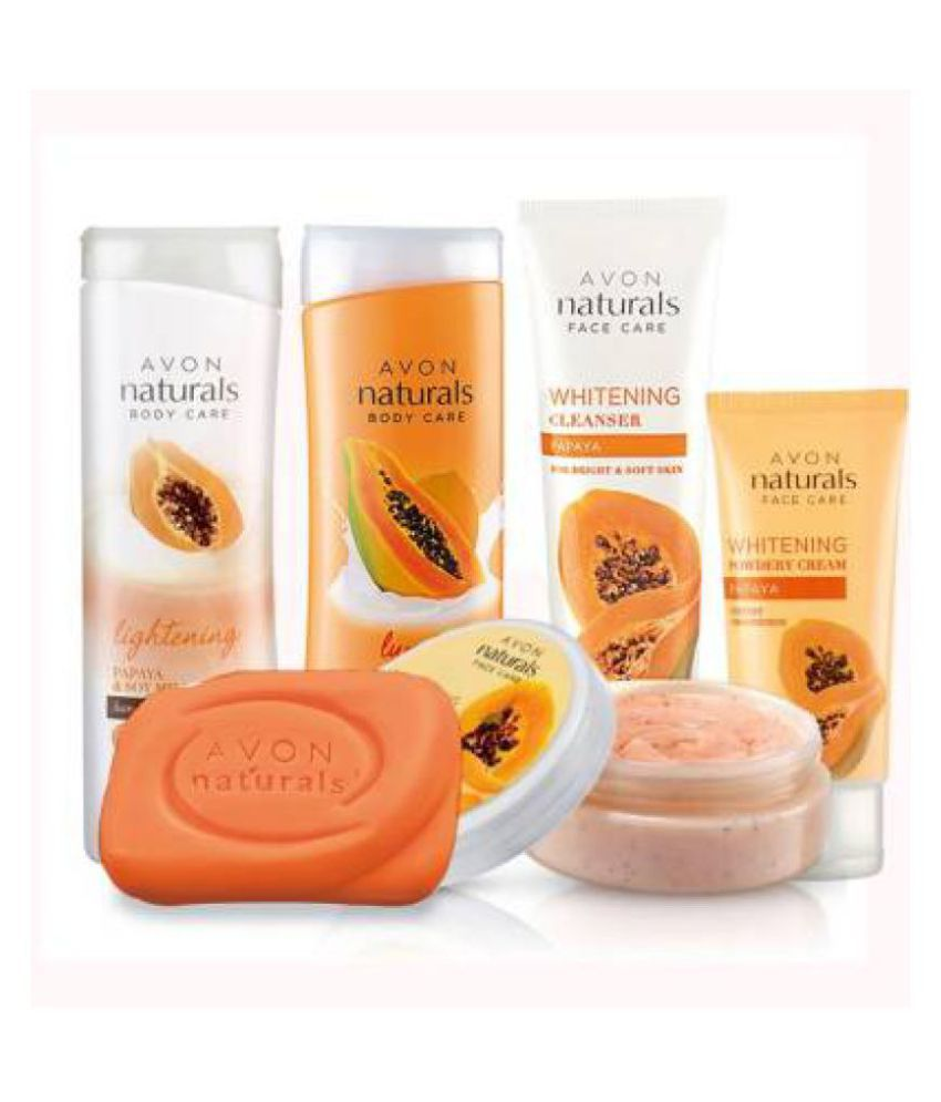 Avon Naturals Papaya Bath&Body Kit Cool / Refreshing Bath Kit Pack of 6
