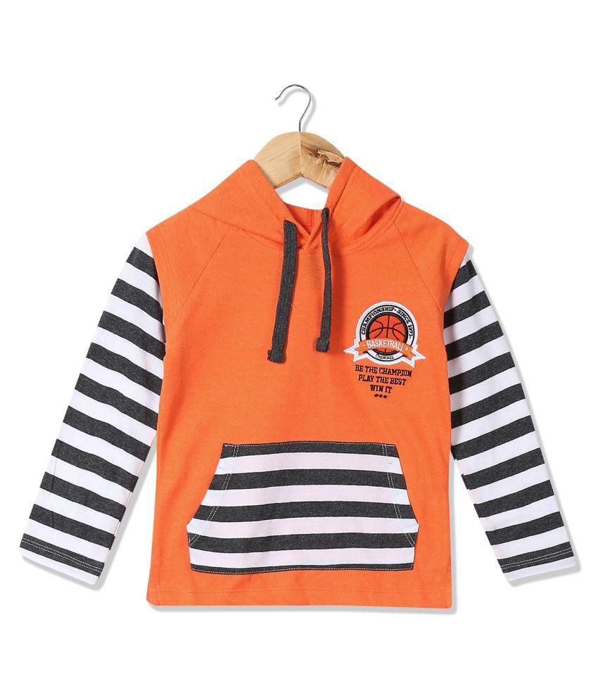 Boys Striped Hooded Sweatshirt