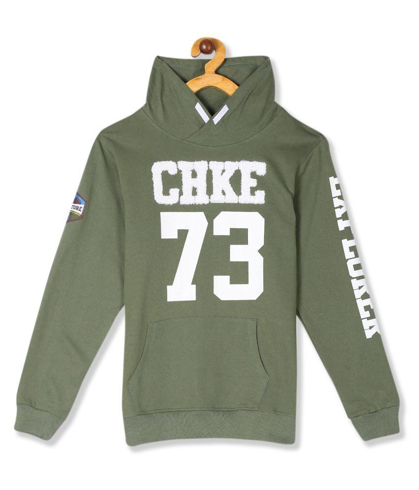 Green Boys Stylized Collar Brand Applique Sweatshirt