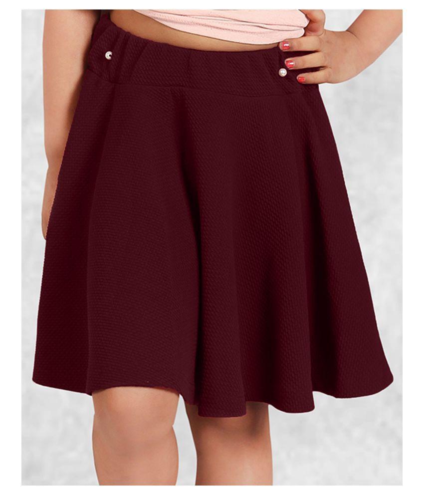 Addyvero Solid Girls Skater Maroon Skirt