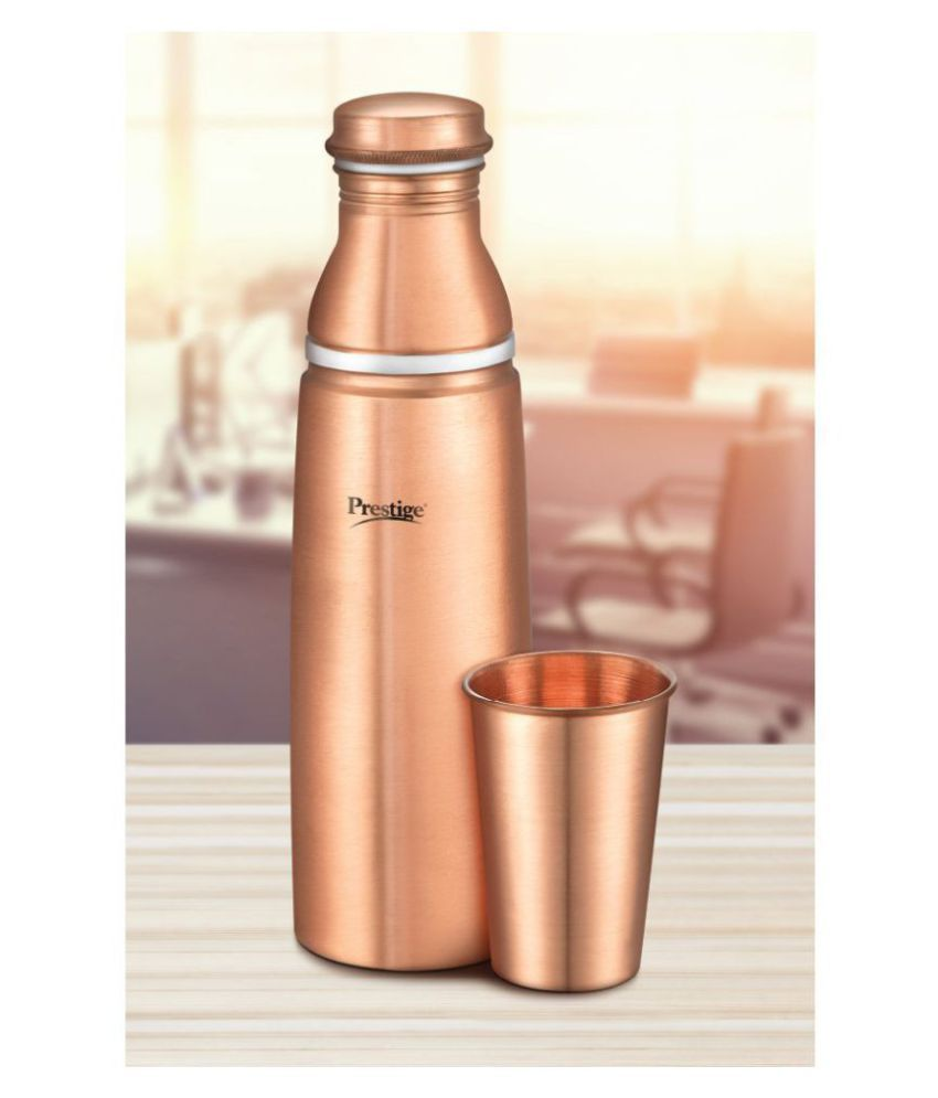 Prestige Copper Bottle With Tumbler 01 Gold 1000 mL Copper Water Bottle set of 1