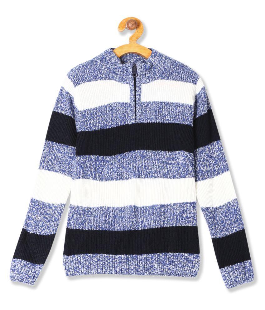 Boys Half Zip Striped Sweater