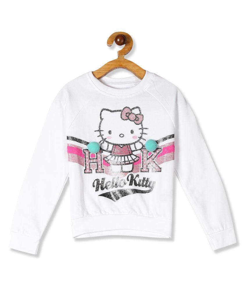 Girls White Glitter Print Crew Neck Sweatshirt