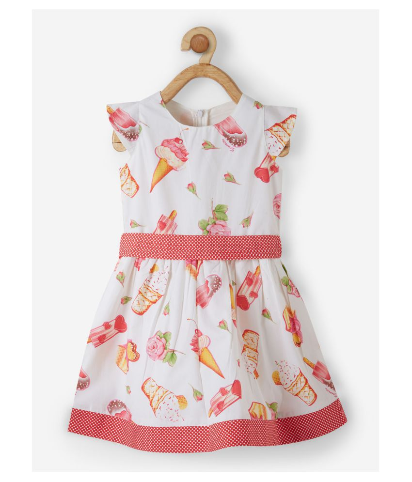 Powderfly Baby Girl's Cotton Red Round Neck Floral Print Dress