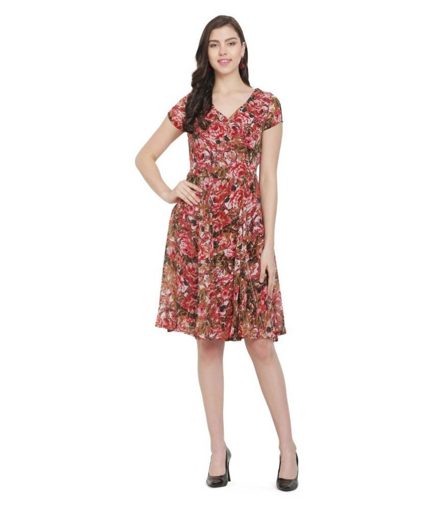 Scenestealer Georgette Multi Color Fit And Flare Dress