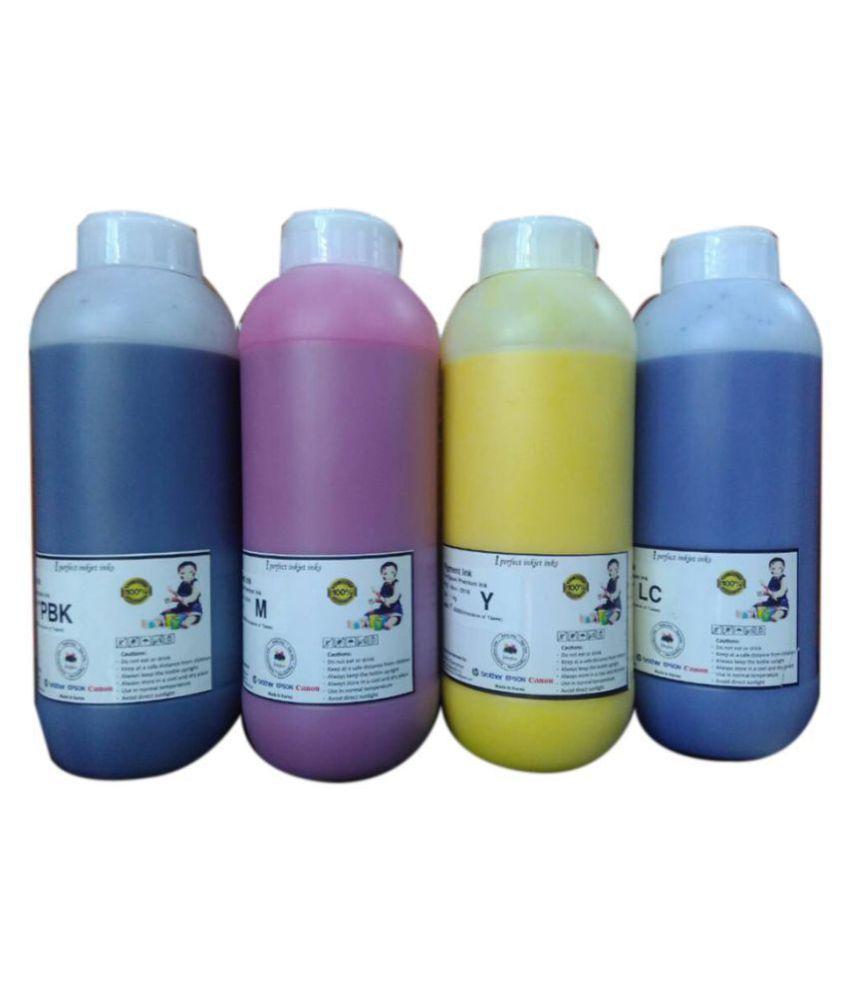 iPerfect Enterprises Canon Dye 1kg x4c Multicolor Pack of 4 Ink bottle for All Canon Printers G2000 G3000 G2002