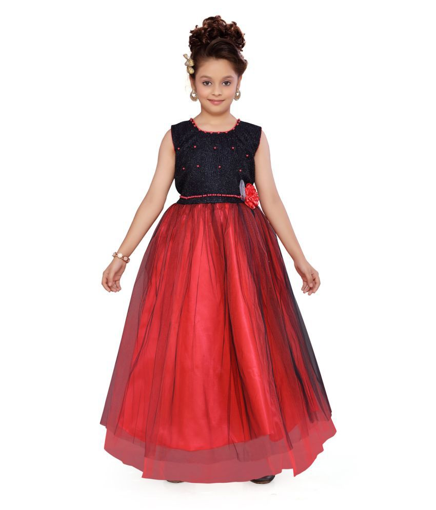 Aarika Girl's Gajri coloured Party Wear Gown with Unstich Sleeves