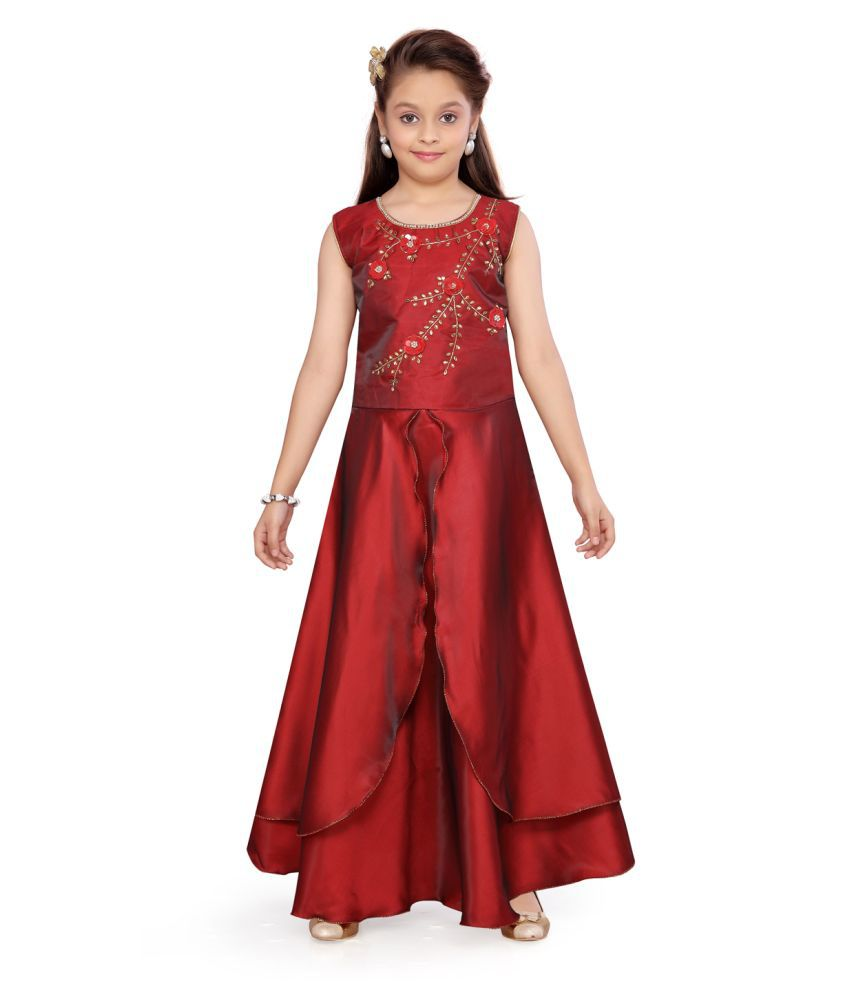 Aarika Girl's Maroon coloured Party Wear Gown with Unstich Sleeves