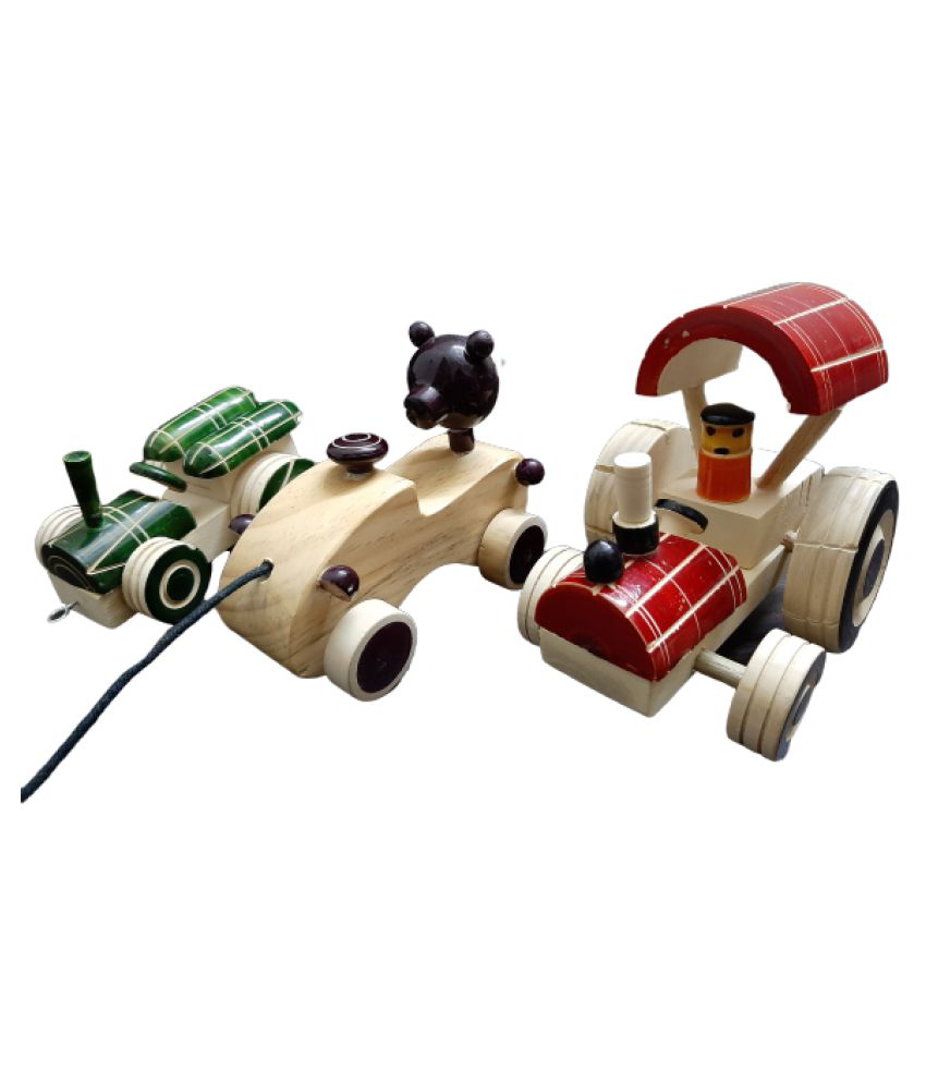 Handcrafted Wooden Pull along vehicles combo pack set of 3 for kids