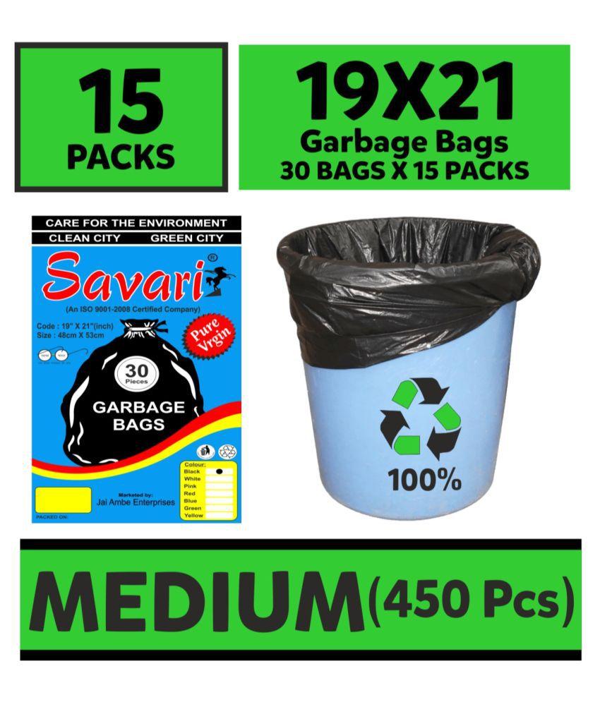 Savari - Medium 450 pcs Garbage Bags - 15 packs of 30 Pcs - 450 pcs - 19X21 Black Medium Disposable Garbage Trash Waste Dustbin Kitchen Bags & Covers